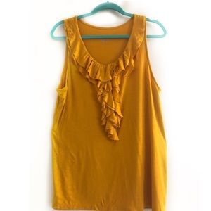 Mustard Yellow Ruffle Knit Blouse | Merona Size XL